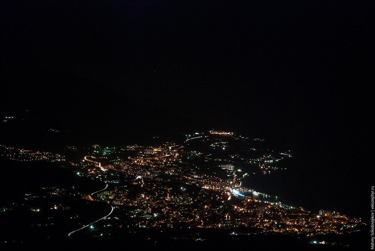 Ночная Ялта, вид с площадки Шишко