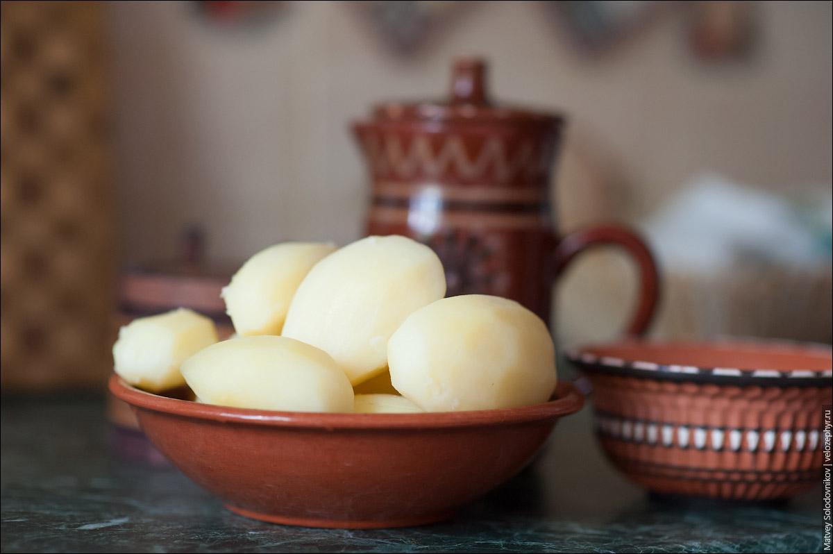 Дымящийся картофель